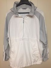 Nike XL White / Gray Jacket Windbreaker - 3/4 Zip W/ Hood  Golf / Running / Rain