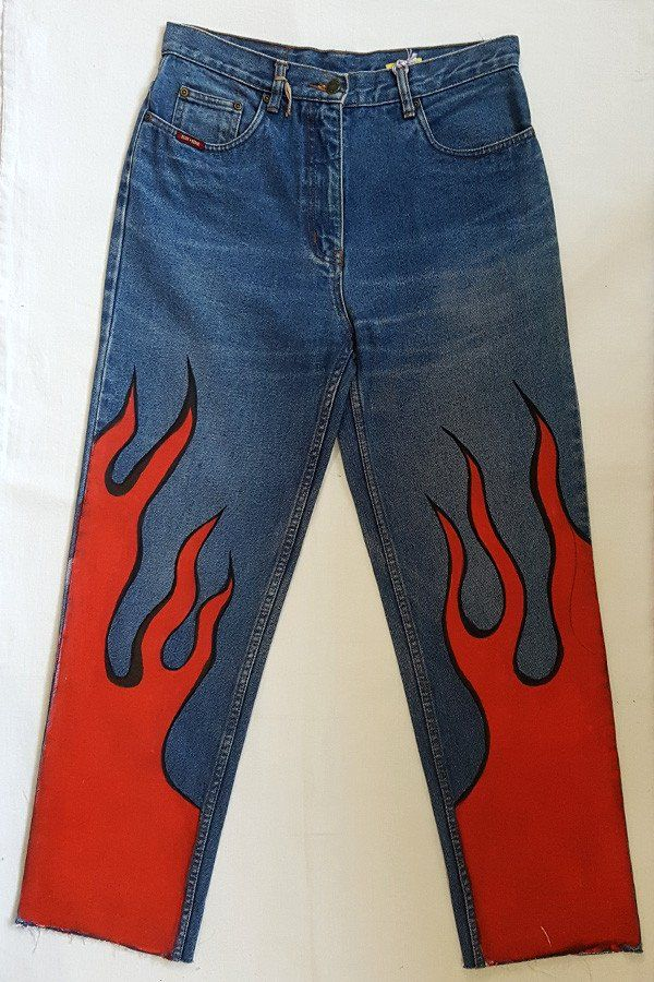 Vintage High Rise Jeans w/ Red Flames