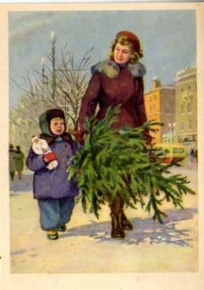 vintage Christmas card - old Soviet postcard