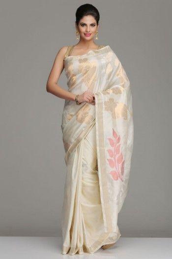 Ivory Uppada Silk Saree With Bold Dull Gold & Silver Zari Floral Motifs, And Peacock Motifs On The Pallu