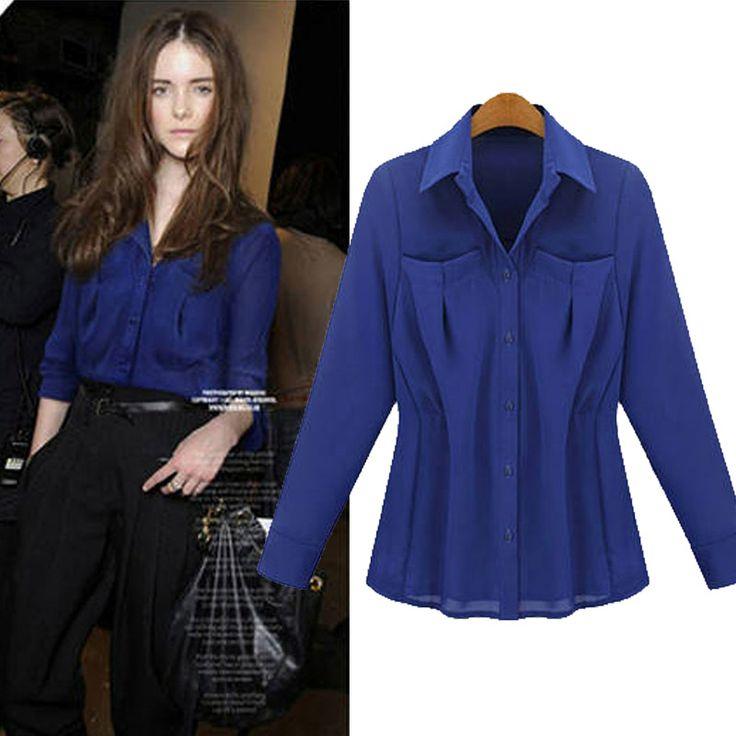 2014 Spring Autumn New Fashion Women European Style Chiffon Shirt Long-Sleeve Slim Waist Turn-Down Collar OL Blouses Ladies Tops