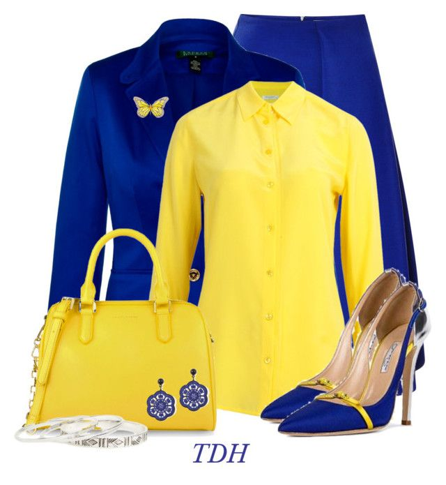 Royal Blue & Yellow by talvadh on Polyvore featuring мода, Equipment, Lauren Ralph Lauren, J.W. Anderson, CHARLES & KEITH and DailyLook