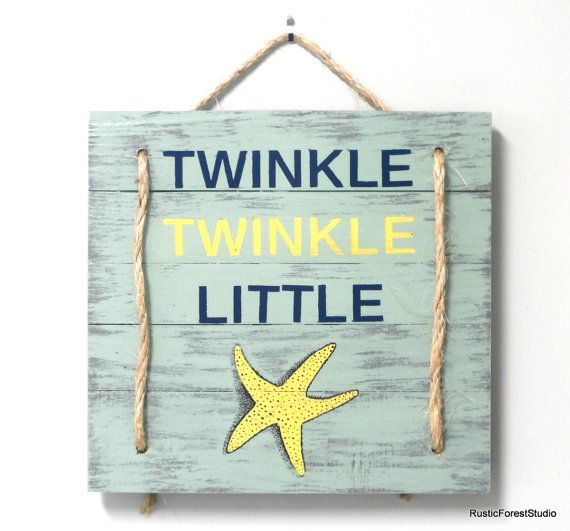 Twinkle Twinkle Little Star Beach Sign-Beach by Rustic Forest Studio is perfect for gender neutral beach nursery decor.  This same beach decor wall art is available in blue if you are planning a beach themed nursery for a boy:  https://www.etsy.com/listing/481377043/twinkle-twinkle-little-starfish-nautical?ref=related-4