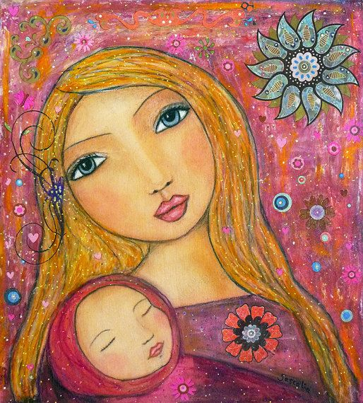 Love the mixed media prints from this artist | Mother and Baby Painting Art Print on Wood Nursery Art by Sascalia, $35.00