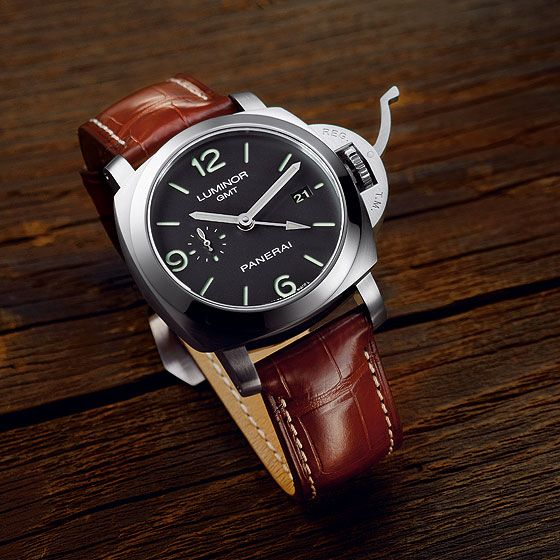 The Panerai Luminor 1950 3 Days GMT. It has a second time zone (but without a day-night display for the 12-hour hand), a power-reserve display (but positioned on the back and nonlinear) and a return-to-zero mechanism for the seconds hand, which is triggered when you extract the crown into the hand-setting position.