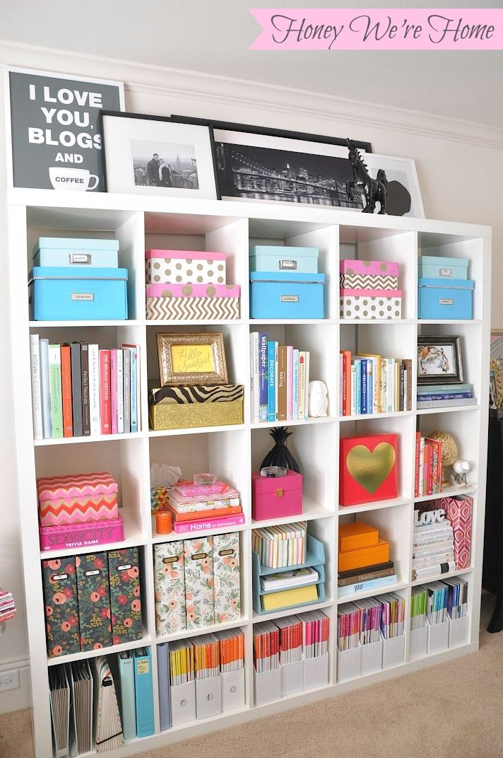 Craft Room Storage. Inexpensive Storage & Decor Updates for Your Bookshelf - Honey Were Home