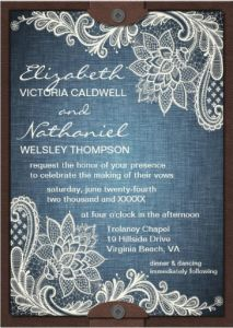 Lace, denim and leather rustic country charm wedding invitation | weddingbydesigns.com #wedding #rusticwedding #denim