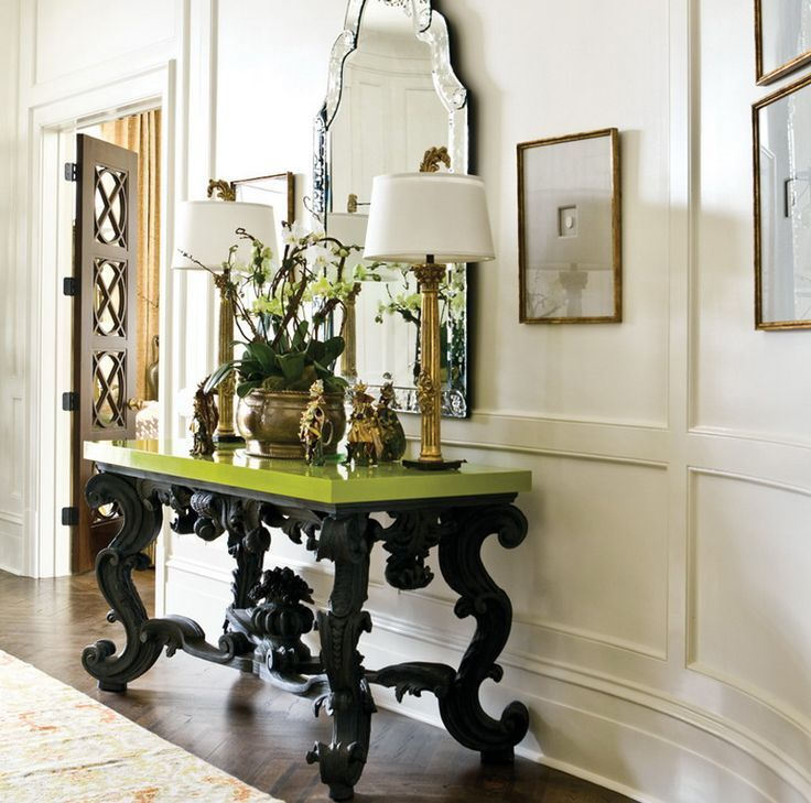 """Entry tables have greeted guests and residents alike for thousands of years, serving multiple purposes and in countless styles. From the early Romans to the austere Victorians, entry table decorations have long provided a """"first impression"""" glimpse into one's home"""