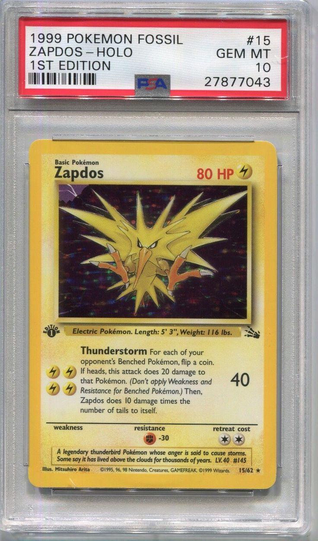 Pokemon card 1st edition zapdos holo fossil set 1562 psa