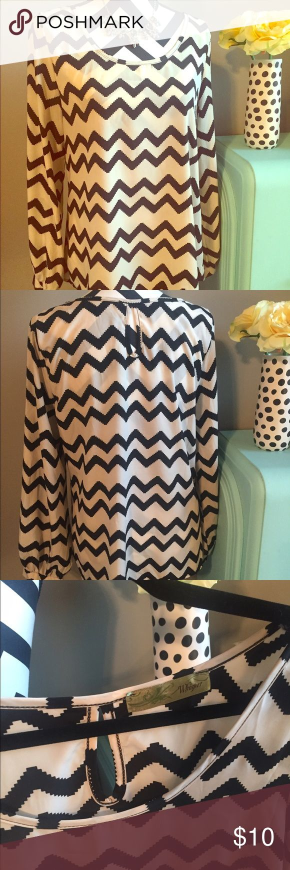Whisper Chevron Blouse Super cute chevron blouse! Very flowy! Whisper Tops Blouses