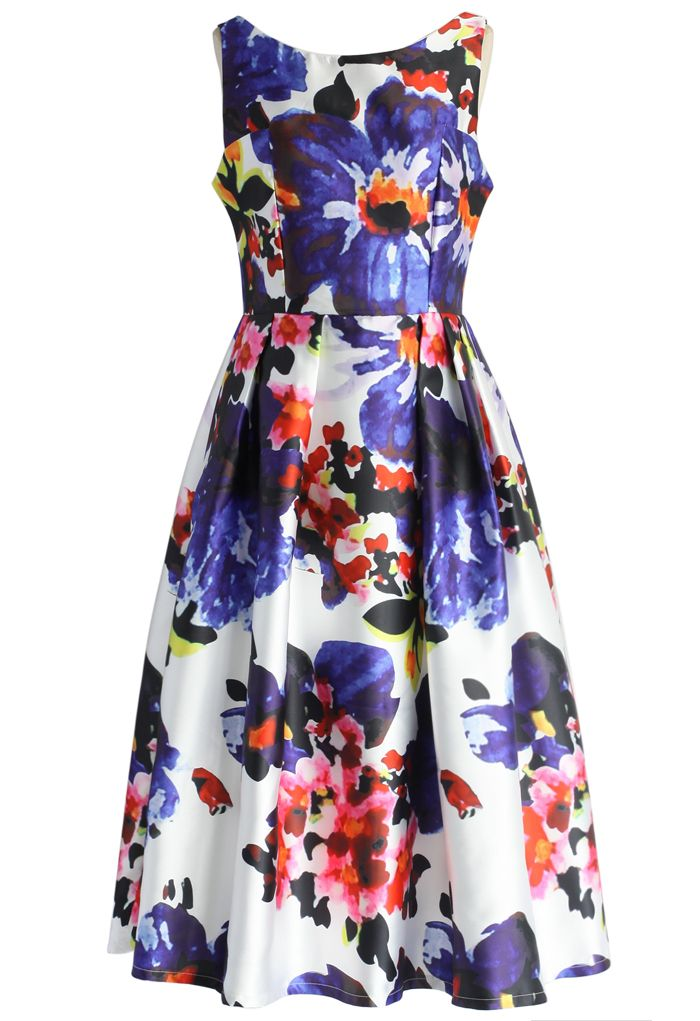 Watercolor Floral Prom Dress - Floral - Dress - Retro, Indie and Unique Fashion
