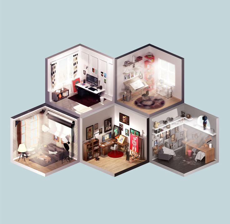 Room of artist on Behance