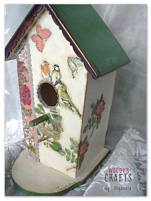 Διακόσμηση με Decoupage: ξύλινο διακοσμητικό σπιτάκι πουλιών | Woody's Crafts by Ifigeneia | Ξύλινα Χειροποίητα Διακοσμητικά