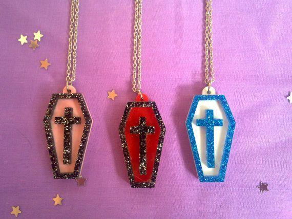 Cross Coffin Necklace by BlakBunni on Etsy, $9.20 Pastel goth nu goth fairy kei