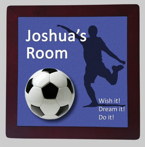 Personalised Framed Tile, Children's Room Sign, Soccer Boy