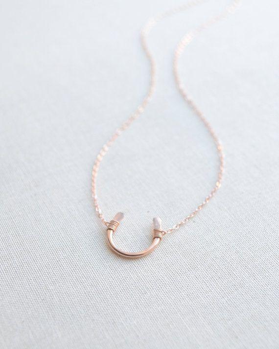 Collar de herradura de oro rosa collar de por OliveYewJewels