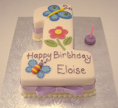 Number one - Edible fabric butterfly and bee - 'Kylie' -celebration - birthday cake