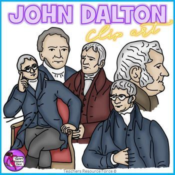 Get your own clip art set of the Chemist, Physicist and Meteorologist, John Dalton at various stages of his life! He is most famous for his development of modern atomic theory and his research into color blindness. This clip art comes in both color and black line, great for your teaching resources!Each image is high quality 300dpi png with transparent edges and closely cropped: great for layering!