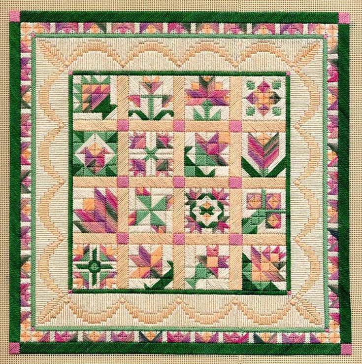 """Flower Sampler 9"""" x 9"""" on 18 ct. canvas Pattern: $12.00 - by Laura J Perin Designs"""