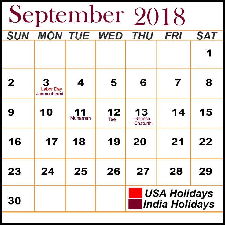 September 2018 Calendar With Holidays Public ,Bank
