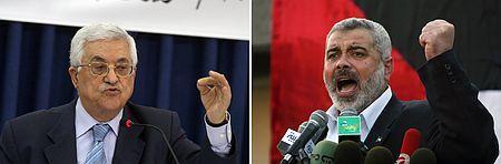 パレスチナ自治政府のアッバス議長(左)と、ガザ地区でイスラム原理主義組織ハマスを率いるハニヤ氏(AFP=時事) ▼24Apr2014時事通信|パレスチナ統一政権で合意=分裂解消か、和平には打撃-イスラエル軍、直後ガザ空爆 http://www.jiji.com/jc/zc?k=201404/2014042300985 #Mahmoud_Abbas #Ismail_Haniyeh
