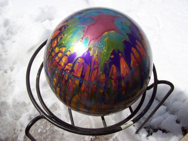 bowling ball revisited - drizzled with metallic fingernail polish  also for @Kristina Kilmer Kilmer Kilmer Watanabe