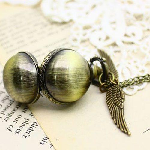 Гарри Поттер Золотой Снитч часы Ожерелье Стимпанк квиддич карманные часы