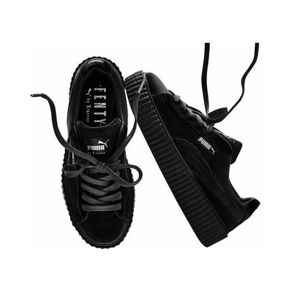 Puma x Rihanna Creepers Velvet Fenty Black Size 5-10 ($185) ❤ liked on Polyvore featuring shoes, sneakers, shoes - sneakers, creeper shoes, velvet shoes, black trainers, puma creeper and puma footwear