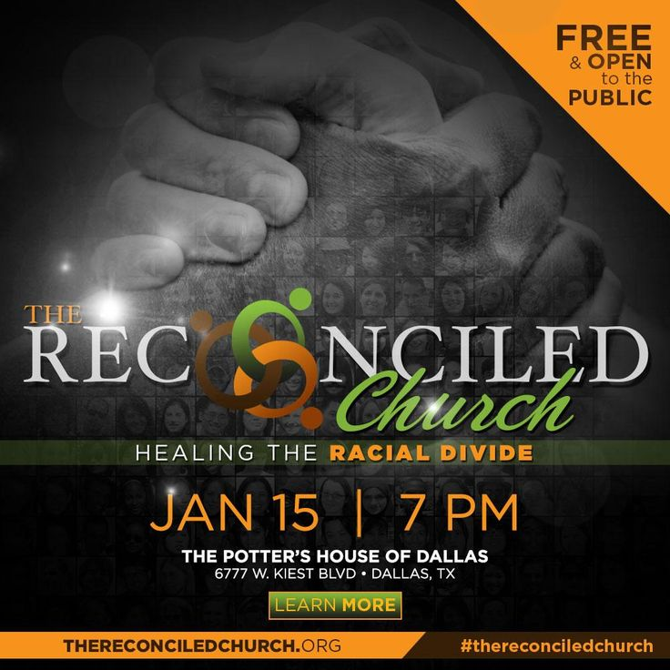 Tonight Bishop TD Jakes will be hosting The Reconciled Church-Healing the Racial Divide. It will be live streamed...
