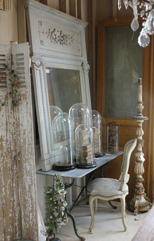 ...Chic Decor, Ideas, Vintage Mirrors, Belle Jars, Architecture Salvaged, Rustic Decor, Glasses Dome, Old Doors, Shabby Chic Bedrooms