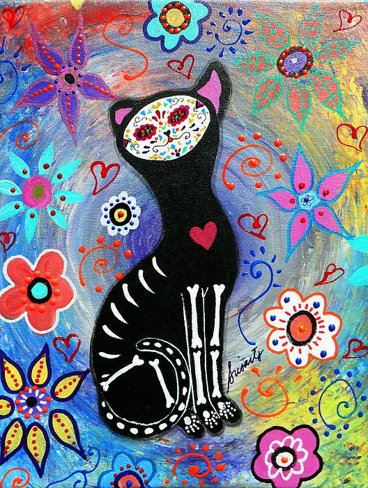 MEOW II DAY OF THE DEAD Print by PRISTINE CARTERA TURKUS