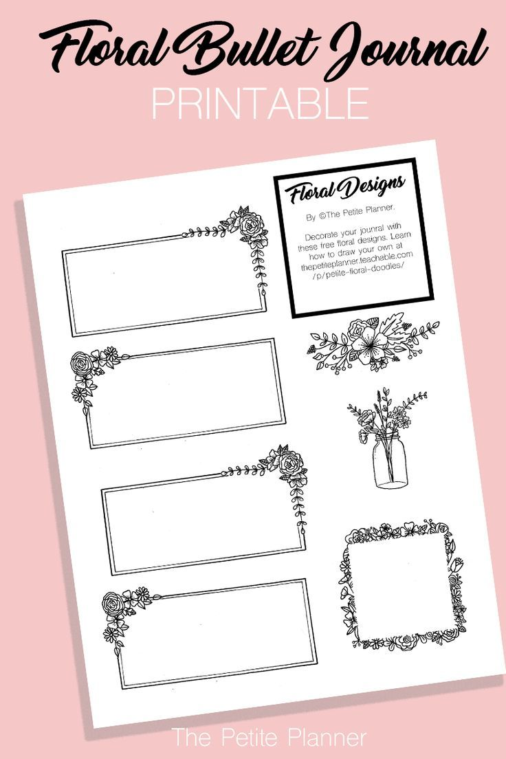 free bullet journal printable  floral doodle boxes