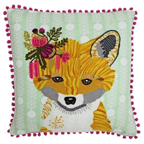 Riva Paoletti Funky Fox Pom Pom Embroidered Cushion Cover Multi
