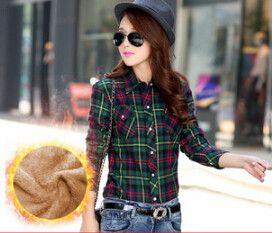 Hot New Women's Winter Blouses Casual Long Sleeve Plaid Flannel Shirt Flannel Tops Blusa Femininas M L XL XXL Winter Blouse