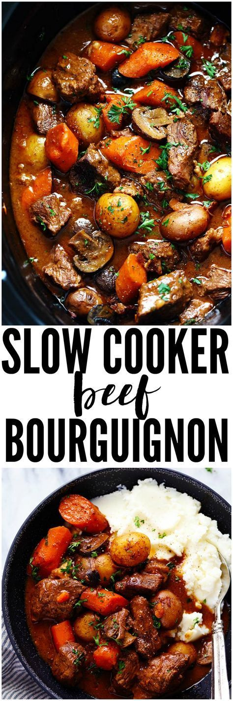 Slow Cooker Beef Bourguignon has crazy tender melt in your mouth beef and hearty veggies slow cooked to perfection in a rich sauce. This meal is comforting and perfect for the cold months ahead!