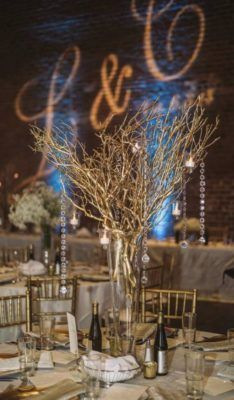 Gold Branch Wedding Reception Centerpiece