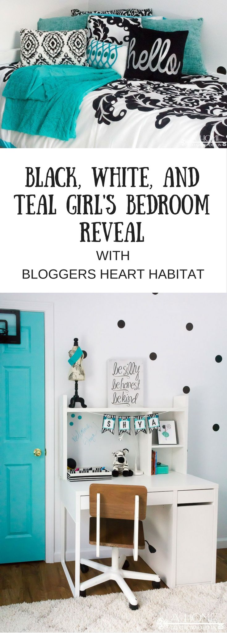 A gorgeous black, white, and teal girl's bedroom reveal with lots of zebra print and polka dots! This is any girl's dream room! Check out this Bloggers Heart Habitat room for a Habitat for Humanity home! via @ahome2growoldin
