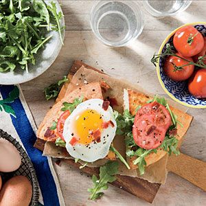 Open-Faced Fried Egg BLT Sandwiches | MyRecipes.com. Need to remember to get thinner bread.