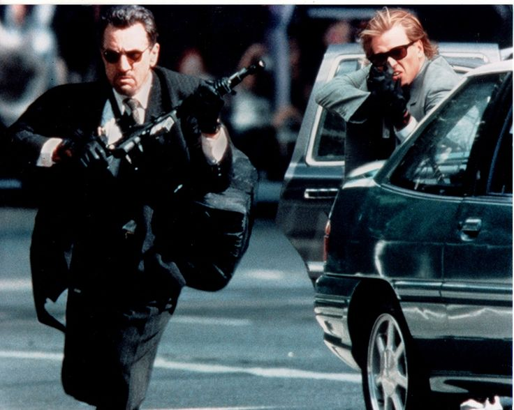 "Neil McCauley, Chris Shiherlis, ""Bank Robbers"", Robert de Niro, Val Kilmer, ""Heat"", Michael Mann,  1995."