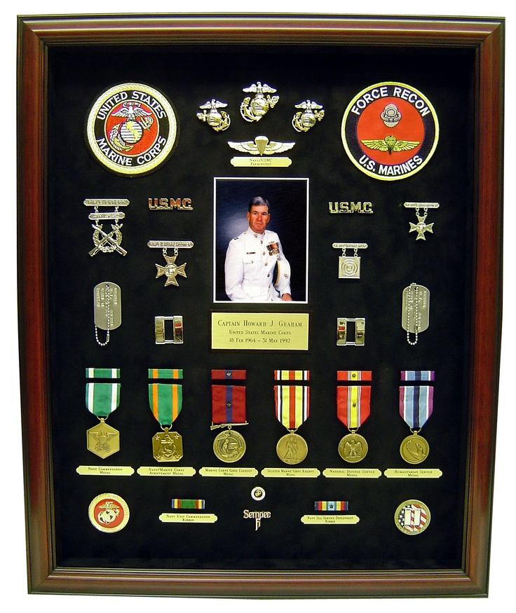 This is for a Marine Special Forces guy. Had to work on this one 3 times from leaving out his highest medal that he received right at retirement & was not listed on his DD214 to totally re-doing over because it got broken.