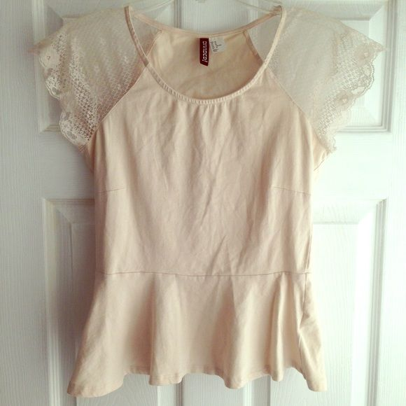 Pale pink peplum top Divided by H&M. Pale pink peplum top with lace sleeves. H&M Tops Blouses