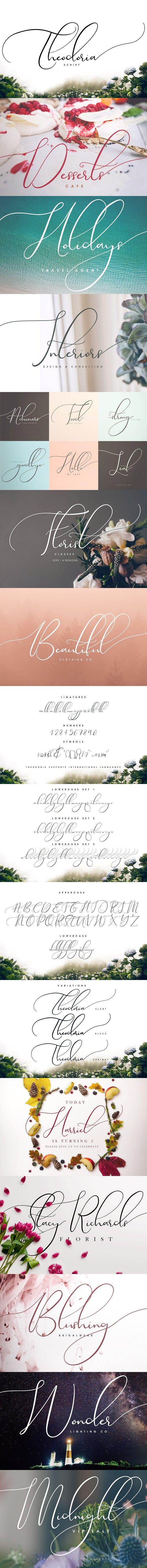 cursive fonts for wedding cards%0A Theodoria Script Font  Best Fonts