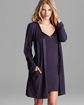 Calvin Klein Underwear Essentials V-Neck Chemise & Short Robe With Satin Trim   Bloomingdale's