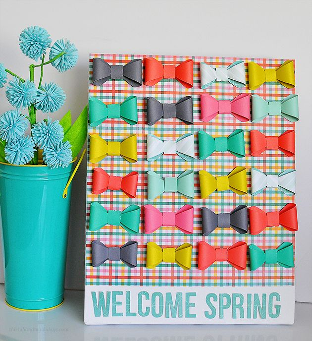 """Adorable """"Welcome Spring"""" Bow Canvas- made using the new Cricut Explore.  So easy & fun way to welcome spring! www.thirtyhandmadedays.com"""