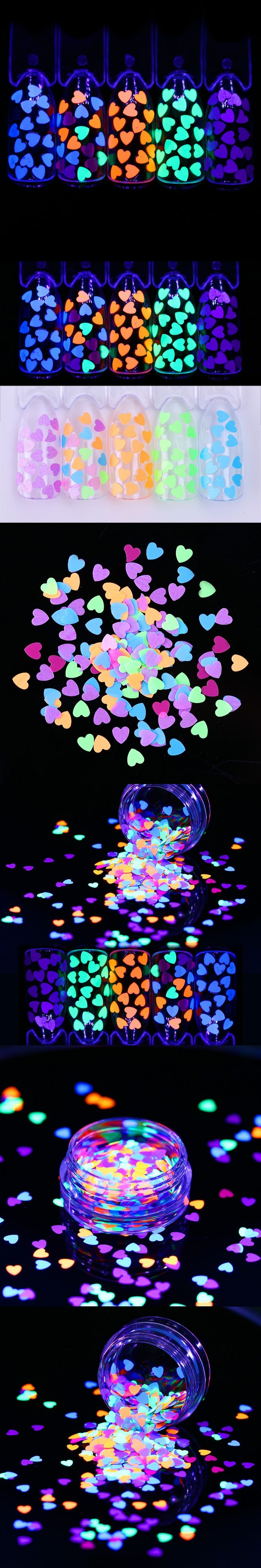 1g Fluorescent Nail Sequins 4mm Ultra-thin Colorful Glitter Paillettes Heart Shape Nail Flakies Nail Paillette Use Top Coat