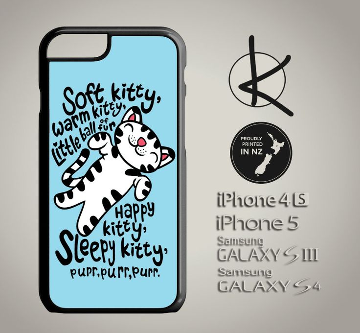 Soft Kitty Warm Kitty Phone Case - Blue - iPhone 4/4S, 5/5S, 6 and Samsung Galaxy S3,S4, S5 Choose Colours by Kultured on Etsy