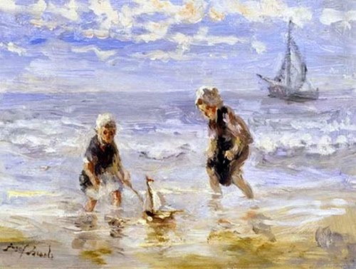 Jozef Israëls (Dutch Realist painter, 1824-1911) The Toy Boat