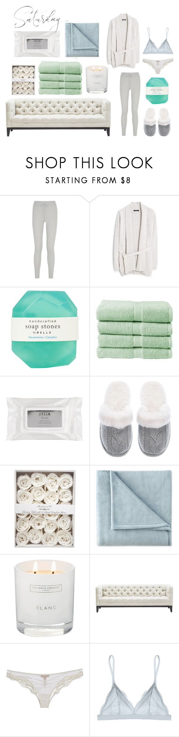 """Saturday"" by iii-i-mcmxcv ❤ liked on Polyvore featuring BACK Label, MANGO, Pelle, Christy, Stila, Victoria's Secret, JCPenney Home, The White Company, Ermanno Scervino Lingerie and Cosabella"