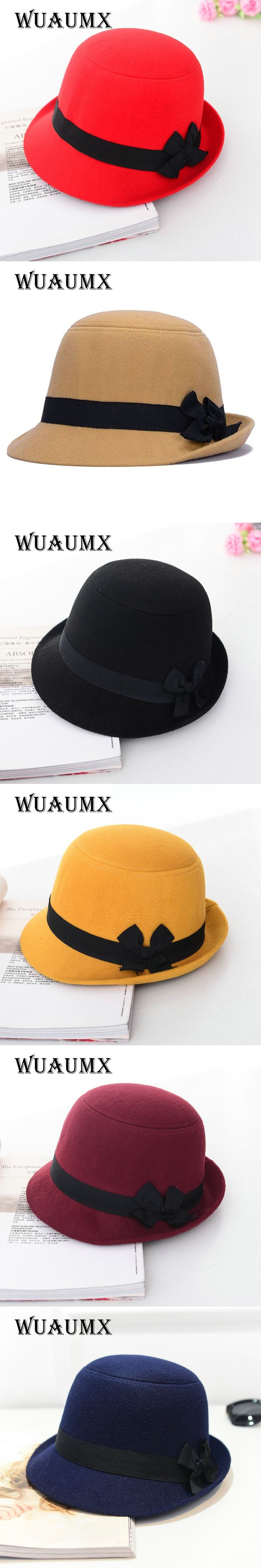 [Wuaumx] Brands Winter Fedora hats for female ladies felt top hat for girls homburg Women's hat Bowler caps chapeu masculino