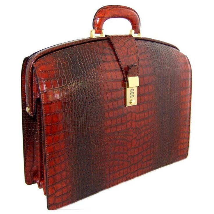 Pratesi Brunelleschi Italian Crocodile Printed Leather briefcase (brown)